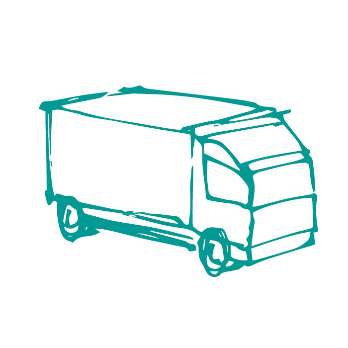 Hand drawn illustration of delivery truck