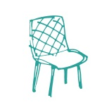 Hand drawn illustration of green chair
